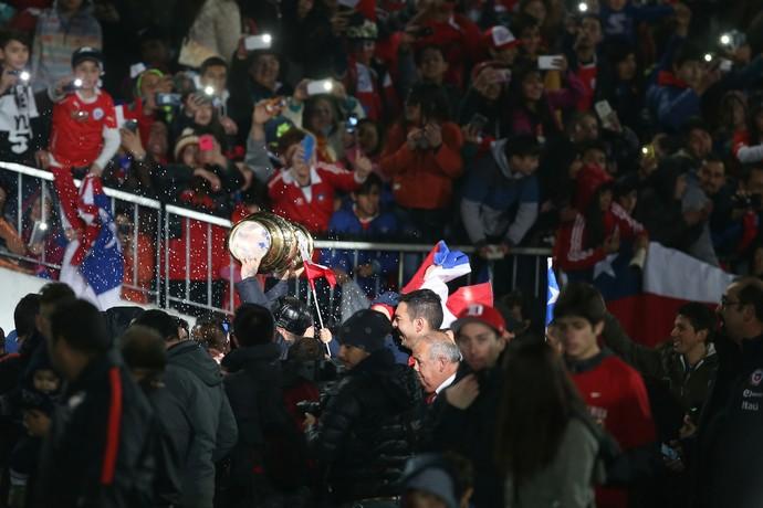 A festa do Chile após a Copa América Centenário (Foto: AFP)