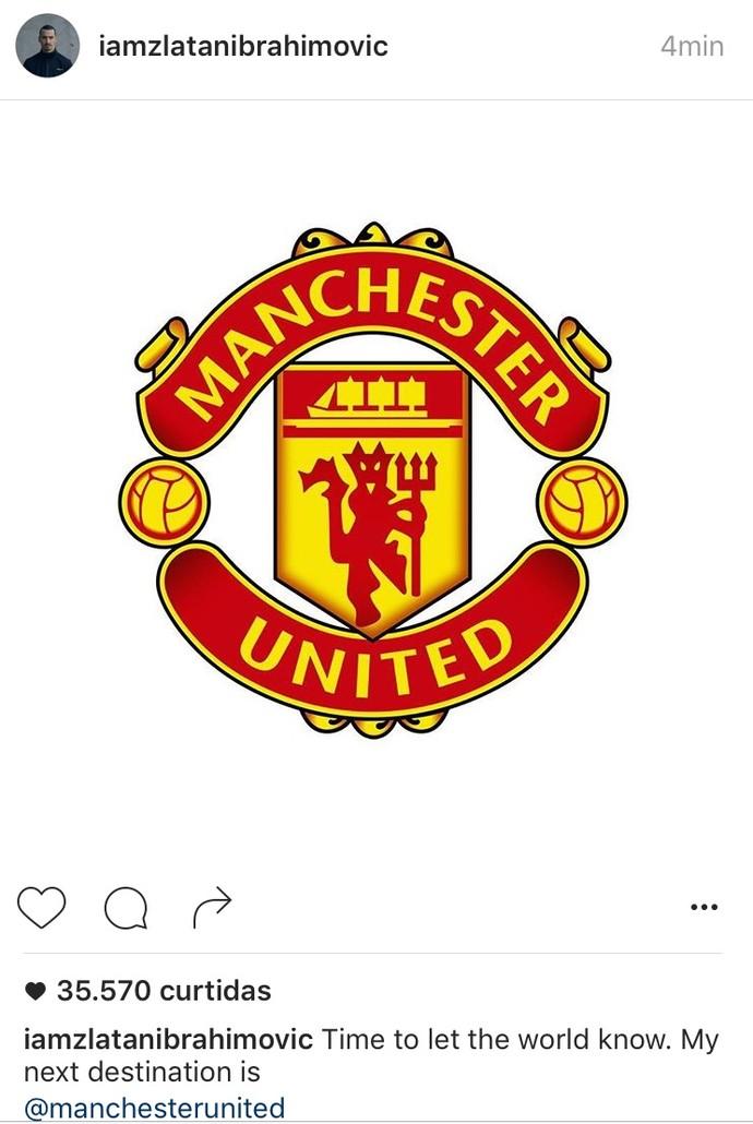 Ibra confirma ida ao United (Foto: Instagram)