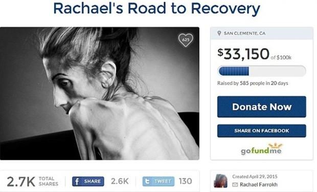 Campanha na web para tratamento de Rachael (Foto: Reprodução)