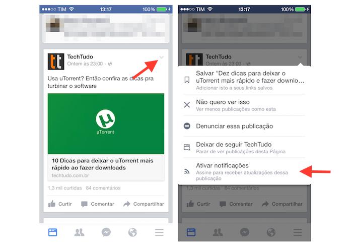 Ativando as notificações para uma postagem no Facebook pelo iPhone (Foto: Reprodução/Marvin Costa)