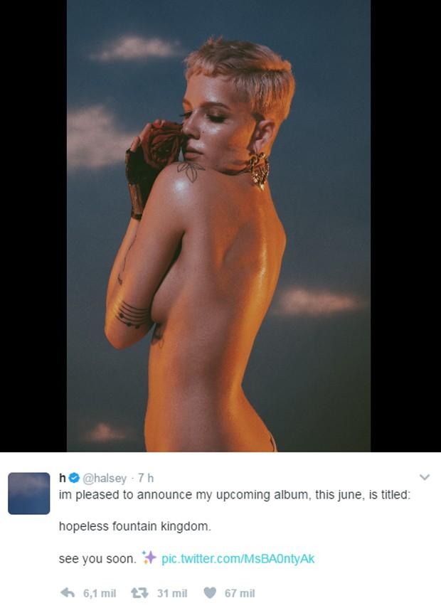 Halsey anuncia novo álbum no Twitter (Foto: Reprodução)