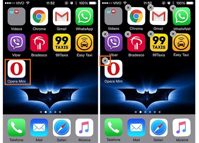 Selecione o ícone do Opera Mini no iPhone (Foto: Reprodução/Barbara Mannara)