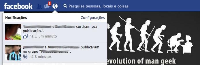 Notificações do Facebook no formato antigo. (Foto: Reprodução)