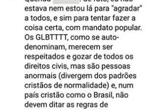 Vereador discute em rede social e chama LGBTs de 'anormais' (Foto: Reprodução/Facebook)