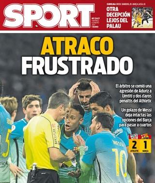 capa do jornal mundo deportivo, athletic bilbao x barcelona (Foto: Divulgação)