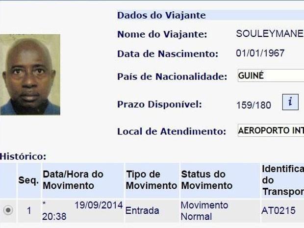 Africano chegou ao Brasil no dia 19 de setembro (Foto: Divulgação / Polícia Federal)