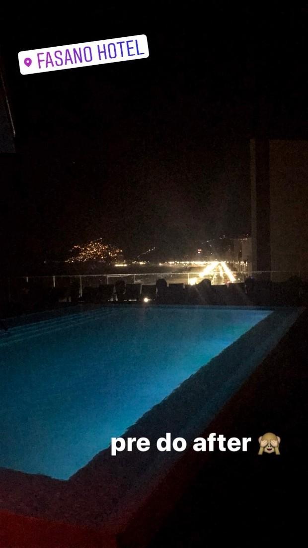 Luciana Chamone, a garota que conquistou Justin Bieber, postou foto em festa de Justin Bieber no Hotel Fasano (Foto: Reprodução / Instagram)