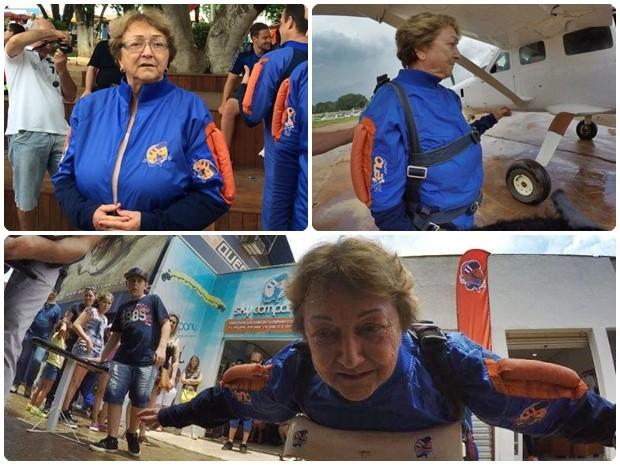Idosa passou por preparação antes de realizar o sonho do salto (Foto: Arquivo Pessoal/Ana Maria Scalet)