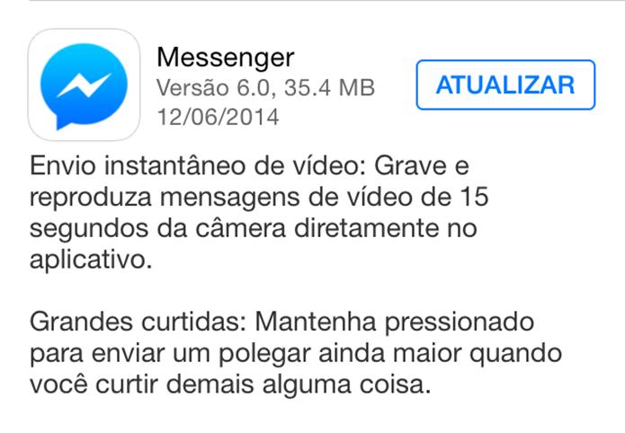 Atualização do Facebook Messenger no iOS (Foto: Reprodução)