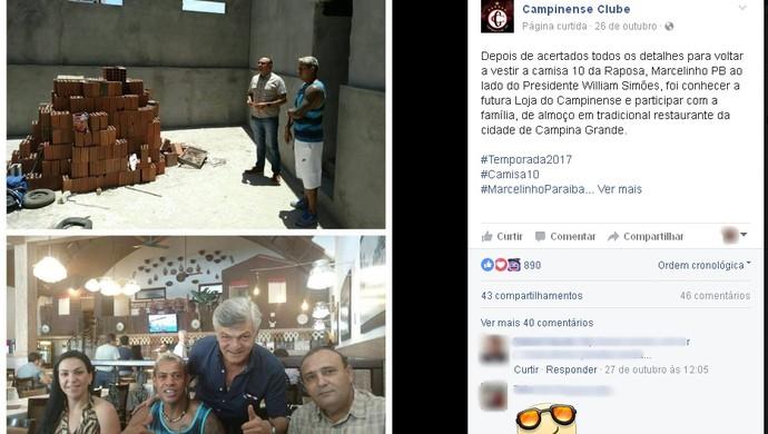 marcelinho paraíba, campinense (Foto: Reprodução / Facebook)