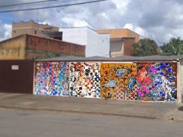 Artista plástico já fez protótipo de como deve ficar o muro da casa da Jéssica, Poços de Caldas (Foto: Jéssica Balbino / Arquivo pessoal)