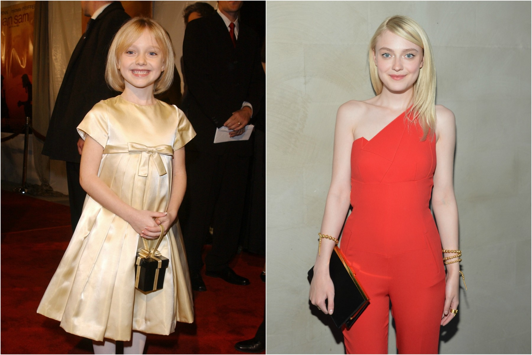 Aos 7 anos, Dakota Fanning compareceu à première de seu primeiro filme, 'Uma Lição de Amor' (2001). Hoje a atriz está com 20 anos. (Foto: Getty Images)