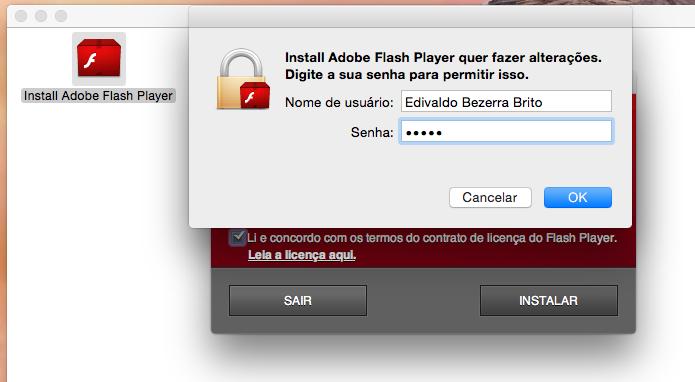 Autorizando a execução do instalador do Flash (Foto: Reprodução/Edivaldo Brito)