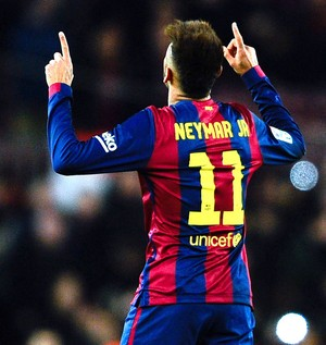 Neymar comemora gol do Barcelona contra o Villareal (Foto: Getty Images)