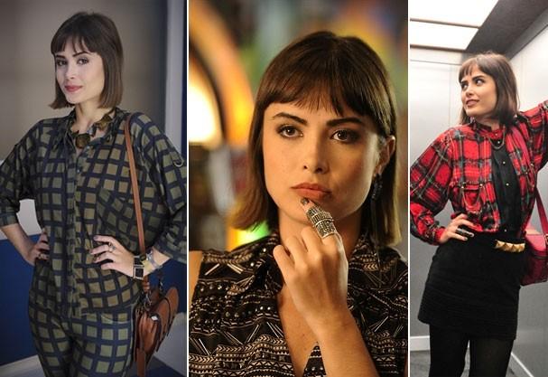 Patrícia (Maria Casadevall) é fashionista e adora maxi acessórios (Foto: Divulgação/TV Globo)