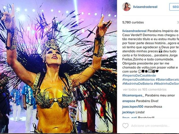 Lívia Andrade comemora título da Império de Casa Verde no Instagram (Foto: Reprodução/Instagram/Lívia Andrade)