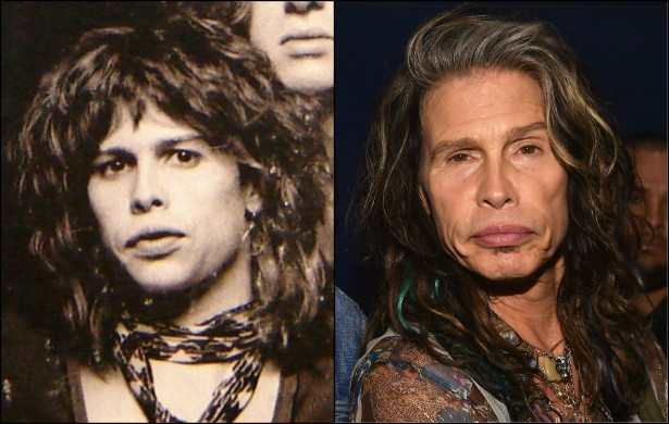 Steven Tyler parece ter tido uma vida sofrida como vocalista do Aerosmith. O roqueiro tinha de 25 para 26 anos na foto da esquerda, na capa do disco 'Get Your Wings'. (1974). Hoje, aos 66 anos, só pode ser reconhecido pelos famosos e generosos lábios. (Foto: Reprodução e Getty Images)