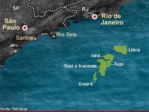 Mapa mostra áreas do pré-sal - Libra (Foto: Editoria de Arte/G1)