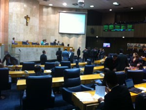 Vereadores durante votação da reforma administrativa (Foto: Roney Domingos/G1)