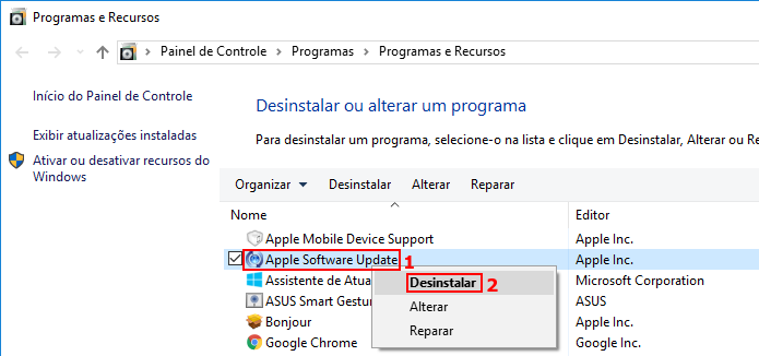 Desinstalando o Apple Software Update (Foto: Reprodução/Edivaldo Brito)