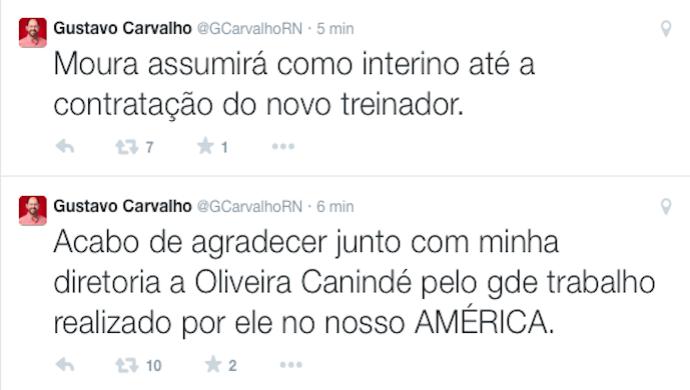 Gustavo Carvalho anunciou a dispensa de Oliveira Canindé pelo Twitter (Foto: Reprodução/Twitter)