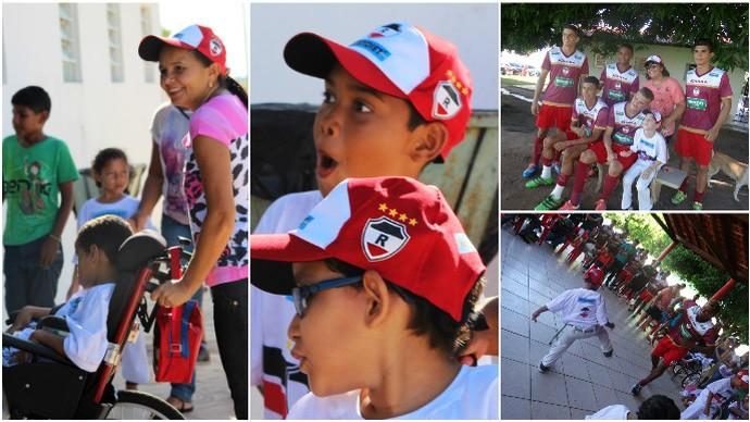 River-PI ganha visita de crianças no CT Afrânio Nunes (Foto: Joana D'arc Cardoso e Érica Paz)