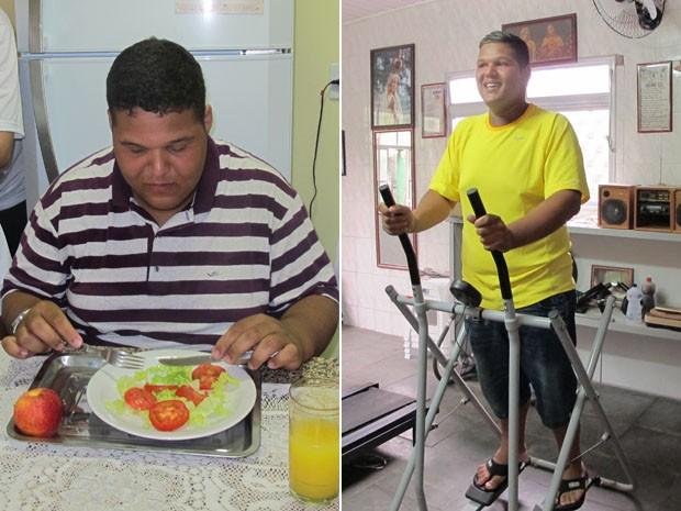 Weslei à esquerda com 153kg em setembro e à direita em dezembro com 113kg (Foto: Arte/G1)