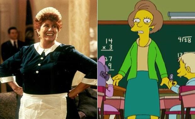 Atriz Marcia Wallace na série 'That's my bush' e a personagem Edna, de 'Os Simpsons', dublada por Marcia (Foto: Divulgação)