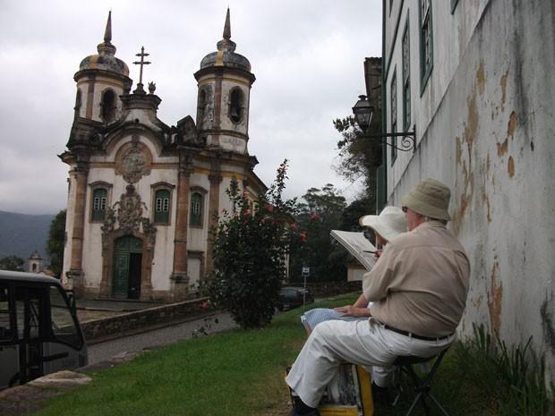 Durante viagens, artista retrata edifícios e monumentos históricos (Foto: Divulgação / Fundação Artistico Cultural Iberoamericana )