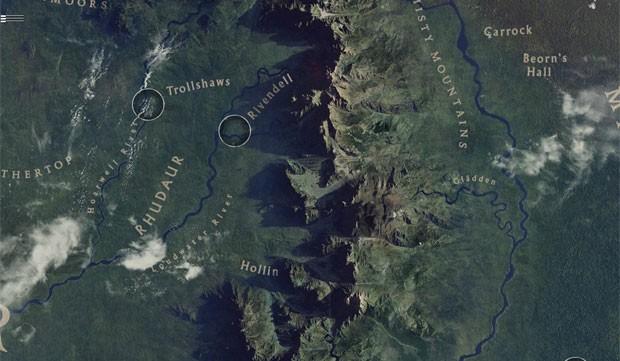 Mapa mostra cidades da Terra-Média como Valfenda e Dol Guldur (Foto: Reprodução/Google)