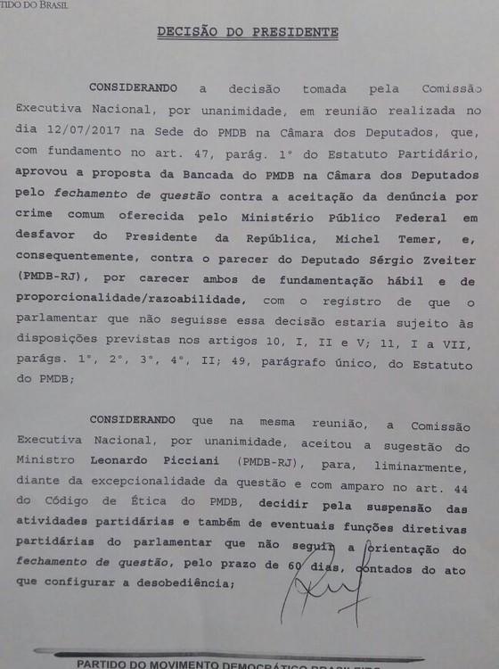 Jucá dedura Leonardo Picciani, de quem partiu a ideia de punir antes do processo no conselho de ética do PMDB (Foto: Reprodução)