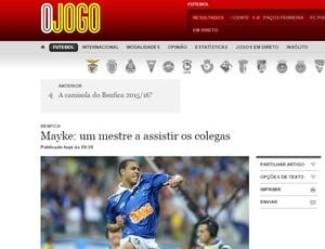 """Jornal """"O Jogo"""" destaca interesse do Benfica no lateral Mayke Cruzeiro (Foto: Reprodução \O Jogo)"""