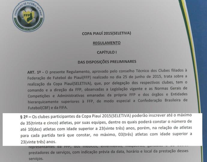 Regulamento Copa Piauí 2015 (Foto: Reprodução/FFP)