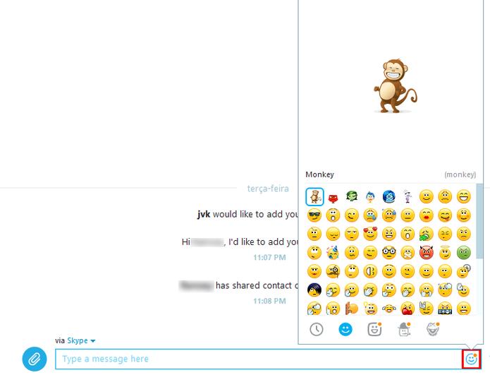 Recurso está disponível no mesmo menu de seleção de emoticons (Fotos: Reprodução/Skype)
