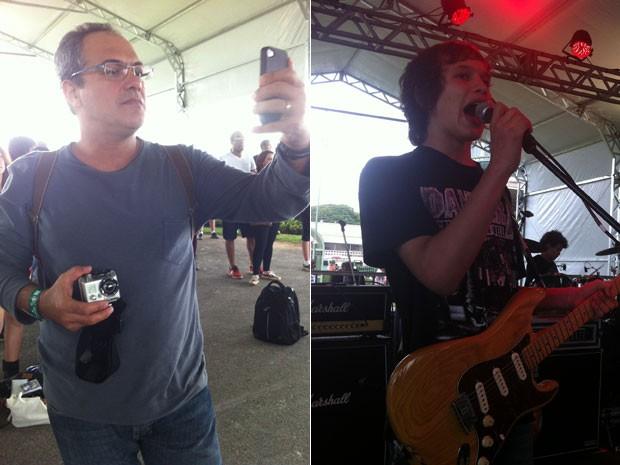 Amauri Leal, pai do baterista da banda Dazantiga, e o cantor do grupo no Lollapalooza, em São Paulo, nesta sexta-feira (29) (Foto: G1)