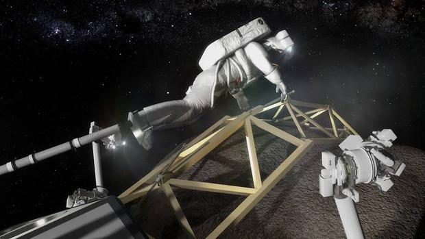 Representação artística mostra astronauta preso pelo pé preparando-se para observar bloco de asteroide (Foto:  Asteroid Initiative/Nasa)
