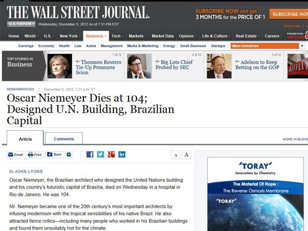 O 'Wall Street Journal' afirmou que Niemeyer foi 'um dos mais importantes arquitetos do século XX', 'misturando modernismo com a sensibilidade tropical de seu Brasil nativo' (Foto: Reprodução)