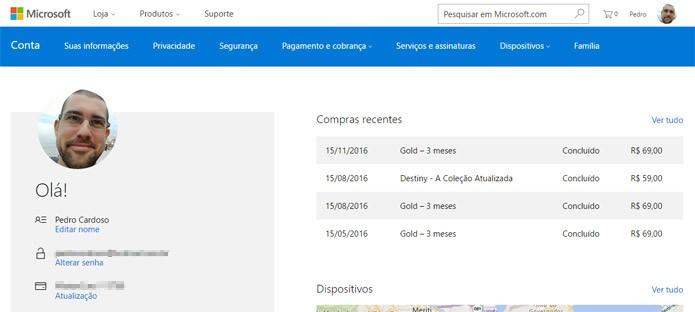 Acesse a sua conta Microsoft no navegador desktop (Foto: Reprodução)
