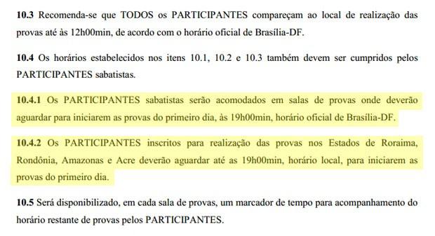 Trecho do edital do Enem que define as regras do horário de provas para sabatistas no dia 8 de novembro (Foto: Reprodução/Inep)