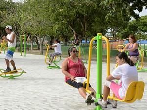 Aparelhos são semelhantes aos de musculação e alongamento (Foto: Divulgação/ Ascom/ Prefeitura)