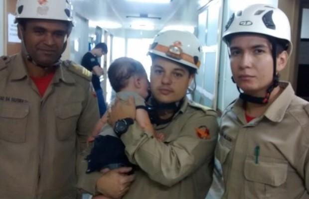 Bebê sobrevive a acidente após ser arremessado na GO-070, em inhumas, Goiás, diz polícia  (Foto: Divulgação/Corpo de Bombeiros)