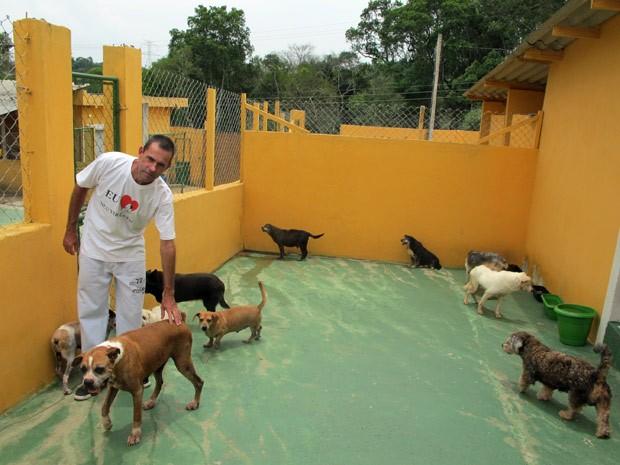 Espaço destinado aos cães idosos no canil da Abeac: 'Esses, ninguém quer', desabafa Márcio Ferreira, presidente da ONG (Foto: Marcelo Mora/G1)
