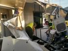 Caminhão arrasta cabine de pedágio e funcionária fica ferida, no Sul do ES