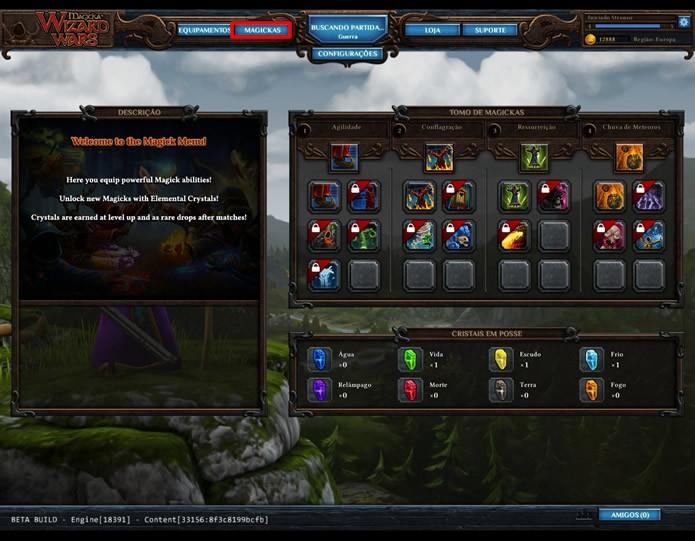 """Clicando em """"Magickas"""", o jogador terá acesso a uma painel com todos os poderes especiais que utilizarão energia canalizada durante as partidas (Foto: Reprodução/Daniel Ribeiro)"""