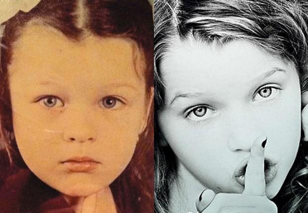 Milla Jovovich quando criança e a filha Ever (Foto: Reprodução)