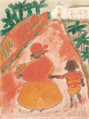 Pintura Senhora negra com filho no caminho, de Gilberto Freyre (Foto: Divulgação)