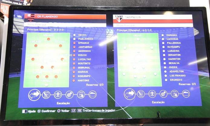 Escalação de São Paulo e Flamengo com jogadores genéricos em PES 2015 (Foto: Matheus Vasconcellos / TechTudo)