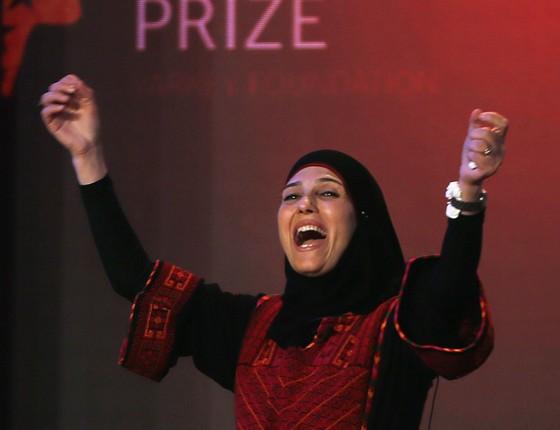 Hanah al-Hroub, vencedora do prêmio de melhor professor do mundo (Foto: Kamran Jebreili/AP)