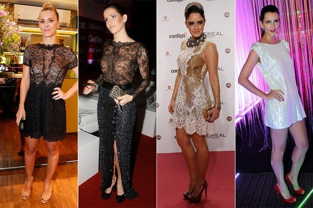 Vestidos de Lethicia Bronstein - Carolina Dieckmann, Deborah Secco, Fernanda Vasconcellos e Fernanda Motta (Foto: Reprodução)