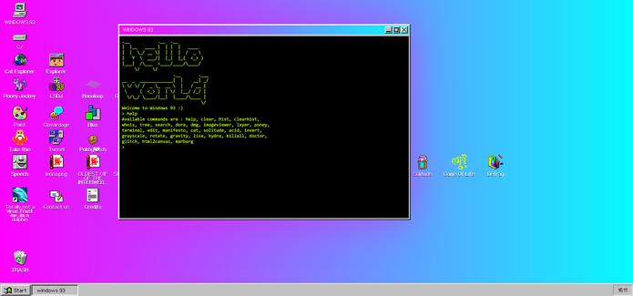 Windows 93 simula o prompt de comando do sistema da Microsoft (Foto: Reprodução/Elson de Souza)